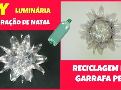 Decoração de natal com garrafa pet  luminária- reciclagem