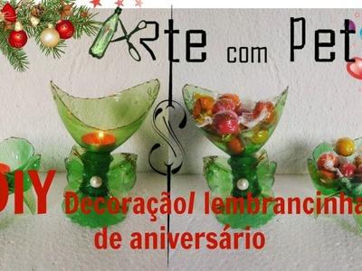DIY|Decoração e lembrancinhas pra aniversário com garrafa PET|ARTE com PET