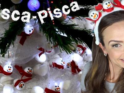 Pisca Piscas decorados de Boneco de Neve e Maçãs - Decoração de Natal