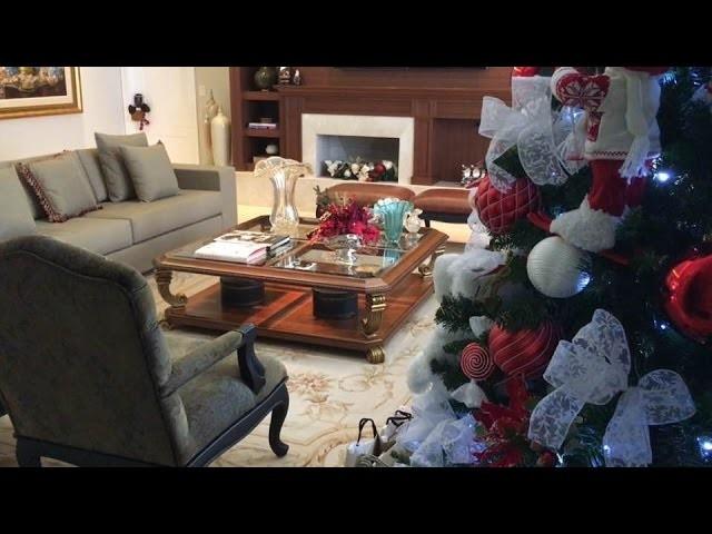 Decoração de Natal. Sala de Estar. Living Room Christmas Decorating