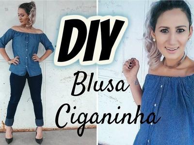 DIY  Transformando Camisa Masculina em Blusa CIGANINHA (Ombro-a-ombro)