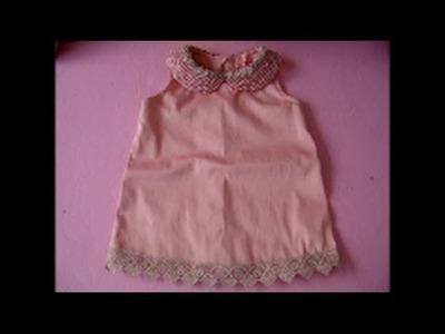 Diy vestido infantil com gola de perola com molde de 3 a 18 meses
