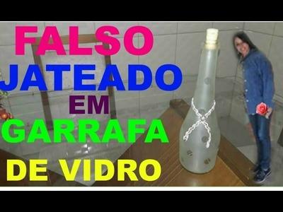 Falso Jateado  em garrafa de vidro, linda decoração.   (False Shot in glass bottle)