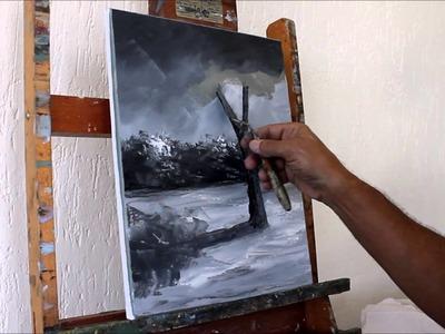 Curso de Pintura em Tela: [Aula 02] Paisagem - Pintada com 2 Cores para Iniciantes 2º Passo