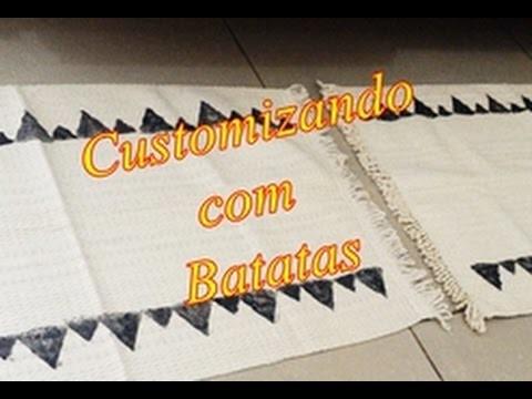 Customizando com Batatas - Tapetinho Algodão Crú