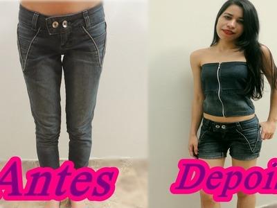 DIY |  Customização. Transforme sua calça jeans em shorts e blusa