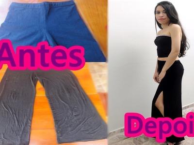 DIY| Customização. Transforme calça em saia com fendas laterais. E legging em top cropped