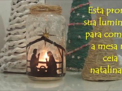 Luminária Natal de material reciclado