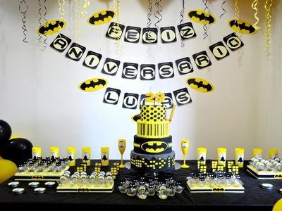 Bandeira feliz aniversário DIY - Festa Batman   Sayury Mendes