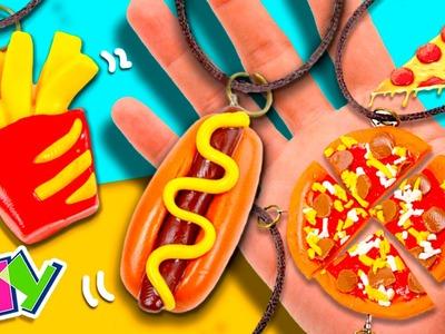 DIY Colares da AMIZADE - CACHORRO QUENTE, BATATA FRITA E PIZZA * Colares da amizade FAST-FOOD