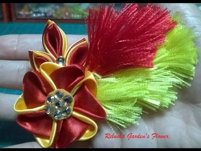 Kanzashi #100 -  Flor Tecido Cetim-  Carnaval ! Satin Flower - DIY. サテン花. 簪