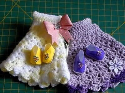 Origami sapatinho enfeitado