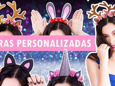 4 DIY Tiaras personalizadas | Tiara unicórnio, tiara alce, tiara coelho e tiara gatinho.