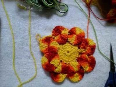 Flor Nova de croché olho de coruja parte 3