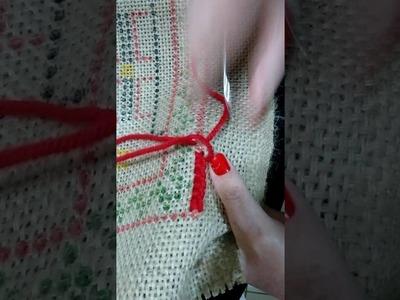 Iniciando um bordado de tapete Arraiolos
