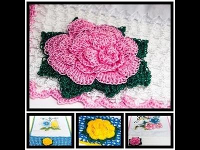 Pano de prato flor rainha de crochê.