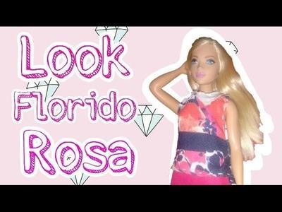 Roupinha nova da Barbie Curvy (rosa e flores)-Dica de Boneca