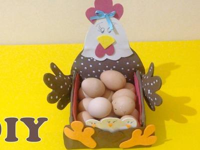 Como Fazer Porta Ovos Feito de Papelão e EVA - DIY Artesanato