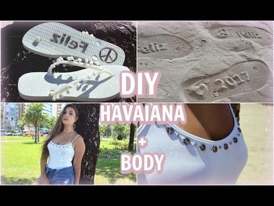DIY: Havaiana com sola que marca na areia + Transformando regata em body