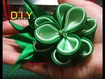 Kanzashi #110 - Como fazer Flor de Tecido Cetim ! - DIY . PAP -  Fácil !! Easy Satin Flower . 簪