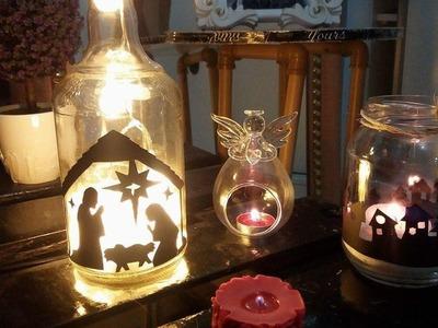 Como fazer luminária com garrafa de vidro e potes em conserva