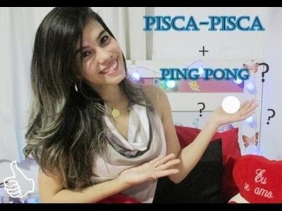 Decoração fácil de natal usando pisca pisca + ping pong