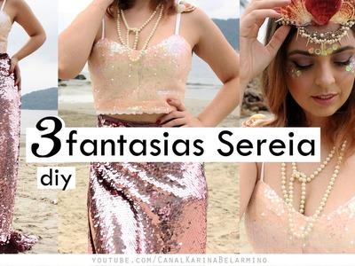 DIY 3 Fantasias de Sereia em 10min | Karina Belarmino