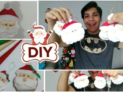 DIY DE NATAL | ENFEITE DE NATAL FEITO COM FELTRO - Rosto do papai Noel #3