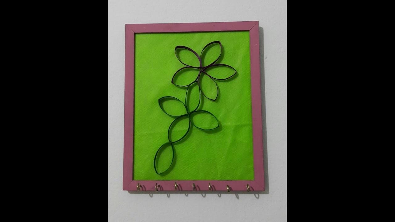 DIY Porta colar utilizando porta retrato e Flor feita com rolo de papel higienico