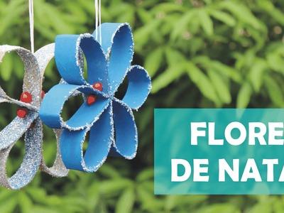 Como fazer flor enfeite de Natal com rolinhos de papel higienico