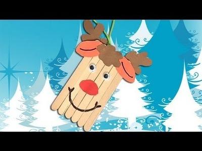 Como fazer um Caribu de Papai Noel. Enfeites de Natal com crianças