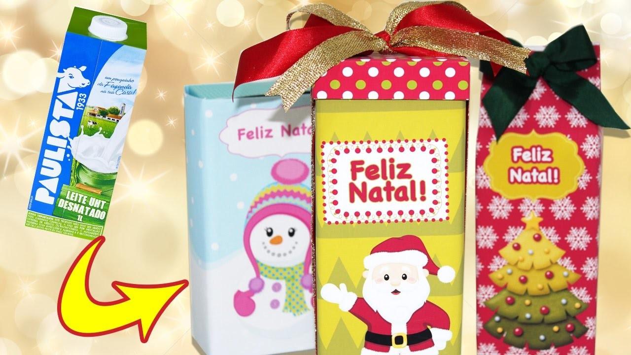 NATAL-  Embalagem para Presente feita com CAIXA DE LEITE -  DIY - Segredos de Aline