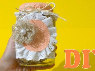 Decoração com Potes de Vidro : Tecido e Fitas - DIY Artesanato