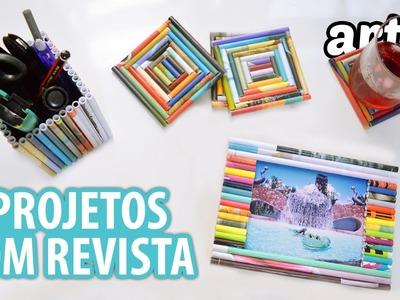 Ideias de Artesanato com Revista :: Os Três Portas [ Retrato | Copos |  Lápis ]