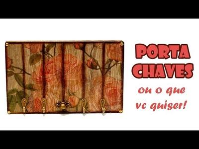 Porta Chaves ???? Falso Ripado e Falsa Madeira ( ARTESANATO, DIY, RECICLAGEM )