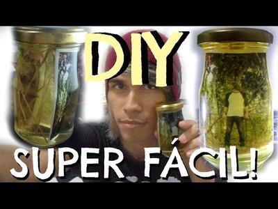 Porta-retrato de garrafa! - DIY (Glass bottle charm portrait)