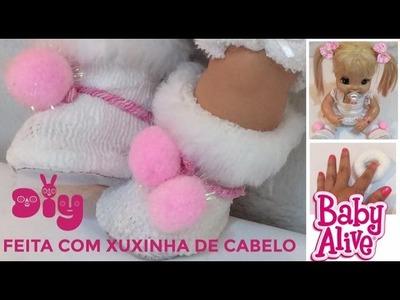 BOTA PARA BABY ALIVE feita com XUXINHA DE CABELO [Diy] Risoleta