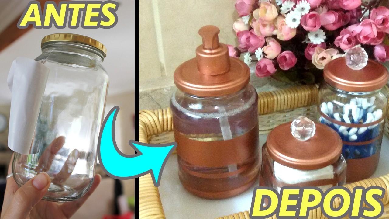 Decoraç u00e3o com Pote de Vidro Kit Higiene Reciclagem DIY -> Decoracao Com Tampa De Vidro
