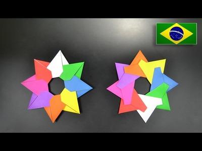 Origami: Mandala. Estrela Ninja de 8 pontas - intruções em Português BR