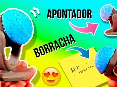 BORRACHA e APONTADOR com forma de MICROFONE * DIY Material Escolar Fofinho