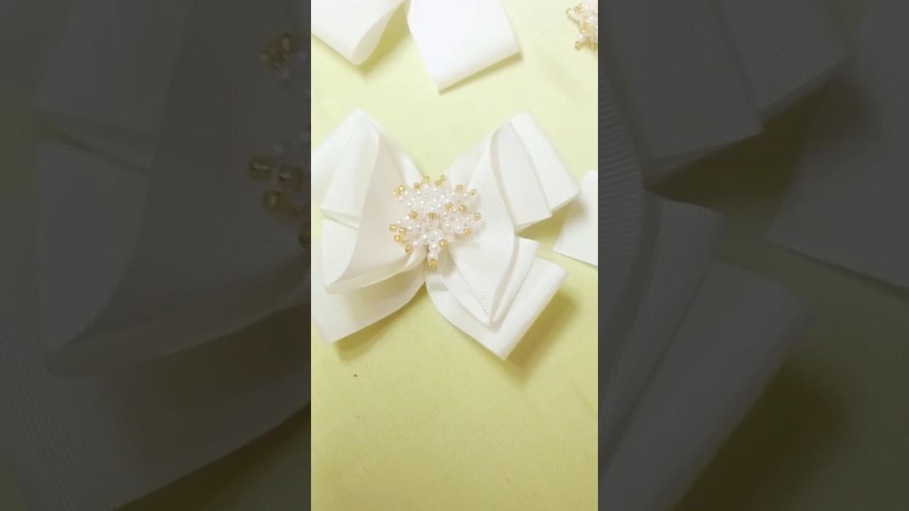 DIY: Laço como fazer laço duplo com um invertido e miolo de pérolas -hair bow tutorial