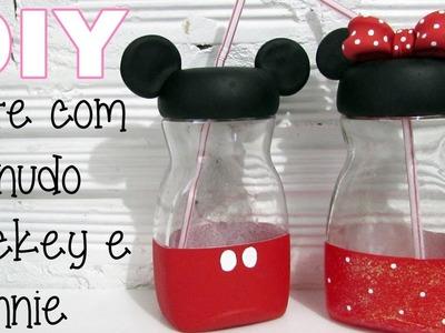 (DIY) Pote com Canudo Mickey e Minnie (Mason Jar)