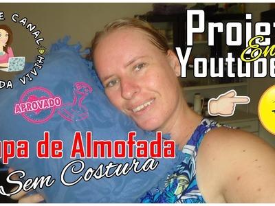 Projeto Entre Youtubers - DIY SEM COSTURA | Capa de Almofada (Usando Camiseta Velha)
