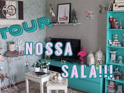 TOUR PELA NOSSA SALA COM DECORAÇÃO VERDE AGUA   - Por Vaidade não tem idade