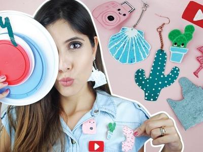 DIY: Como fazer Brincos e Botons.Patches usando tampas de embalagens! Por Isabelle Verona