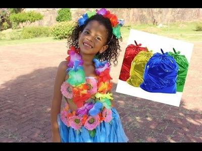 DIY-fantasia de havaiana para o carnaval feita com saco de lixo!