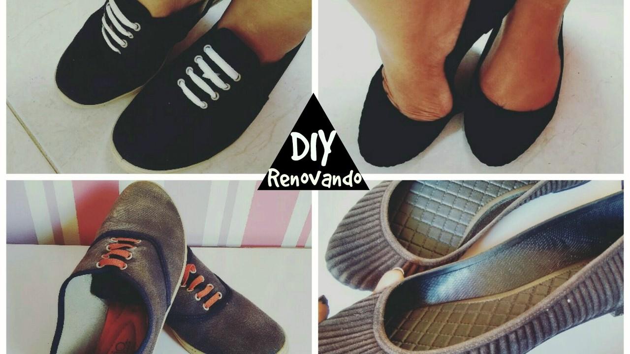 DIY Renovando sapatos com tinta de tecido.Angélica dos Santos