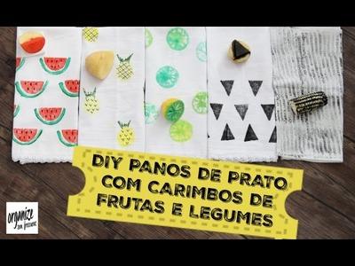 DIY PANOS DE PRATO CRIATIVOS COM CARIMBOS DE FRUTAS E LEGUMES | Organize sem Frescuras!
