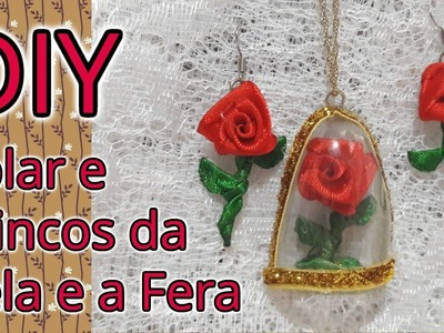 DIY Brinco e colar da rosa da Bela e a Fera