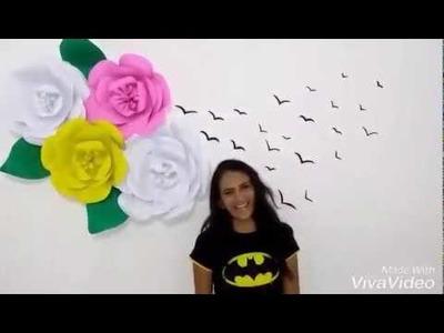 DIY DECORAÇÃO DE PAREDE - flores gigantes.